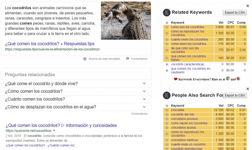 Resultados SEO en una web de cocodrilos