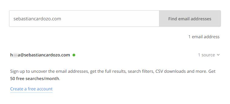 Buscando emails con hunter.io