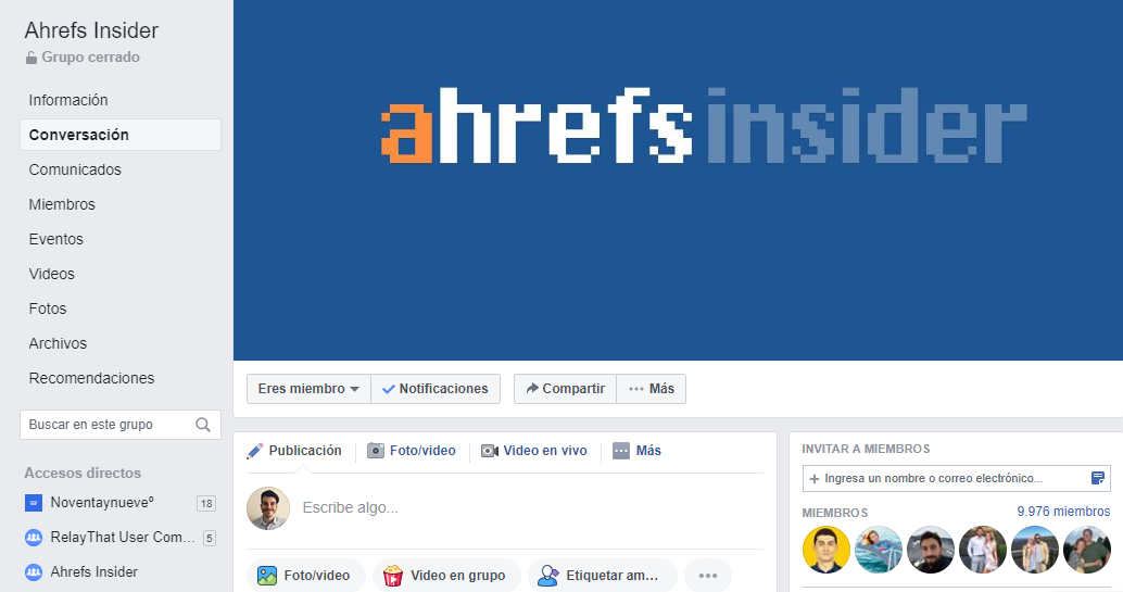 Facebook Ahrefs Insider