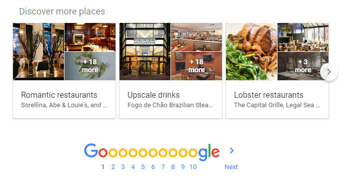 Discover more places serp feature
