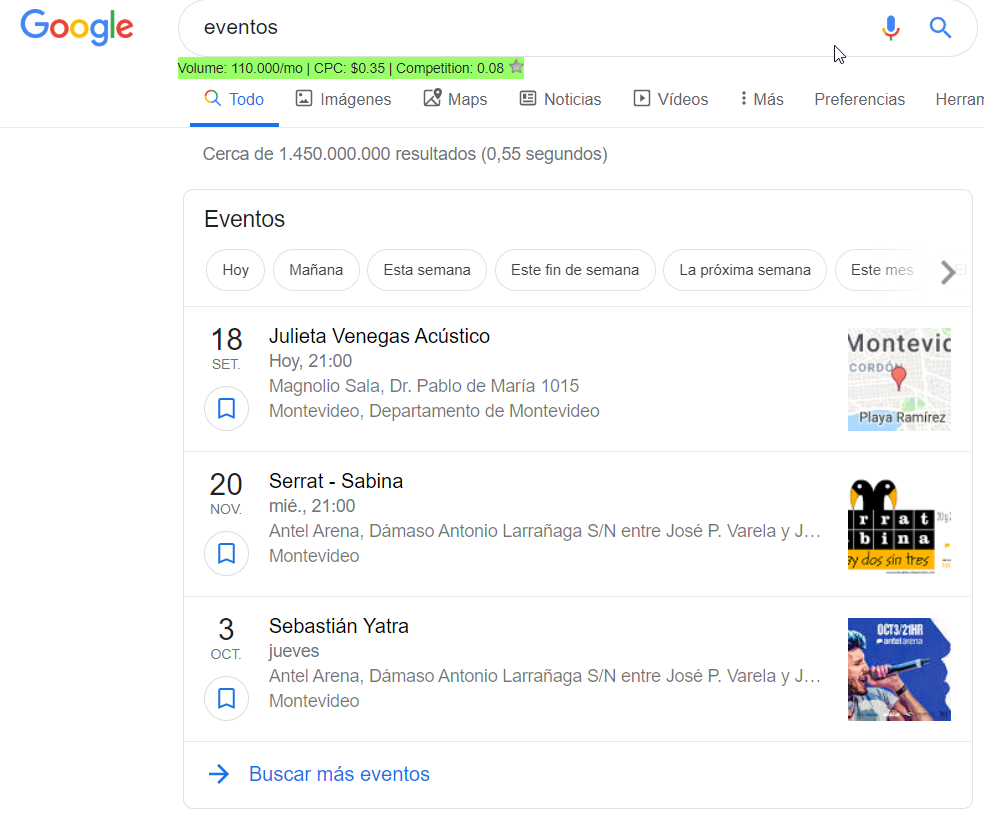 Snippet de eventos en Google