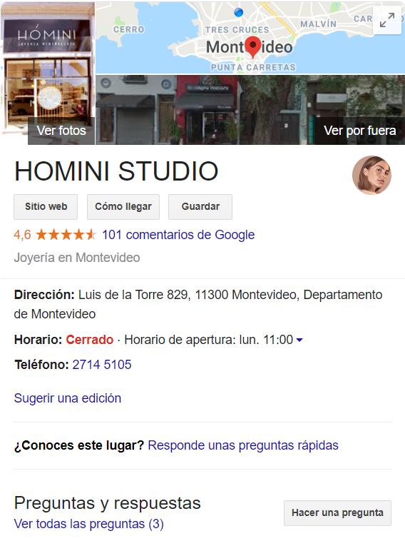Tarjeta de Google My Business