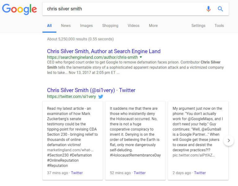 Twitter box en resultados de google