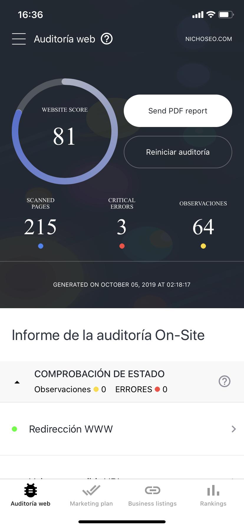 Auditoria SEO en una app