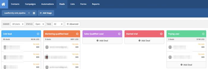 visualización de los diferentes clientes en la plataforma